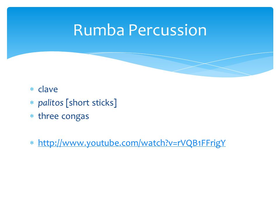 Rumba Percussion clave palitos [short sticks] three congas